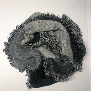 Asymmetrical, fringed, black and grey scarf